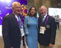 Kuno and Des with the First Lady of Azerbaijan,  Mehriban Aliyeva, Chair of the Organising Committee