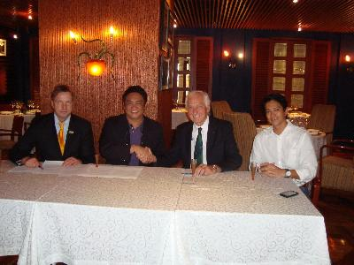 left to right: Uwe Goldstein, Chairman IWWF Cable Development Committee, JJ Atencio, CEO 8990 Housing Development Corporation, Kuno Ritschard, IWWF President, JV Borromeo, President Philippines Waterski and Wakeboard Association.