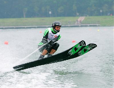 USA Waterski jumper Freddy Krueger in action. Krueger holds the world record for the longest jump (247 feet) and is a 5 time World Champion.