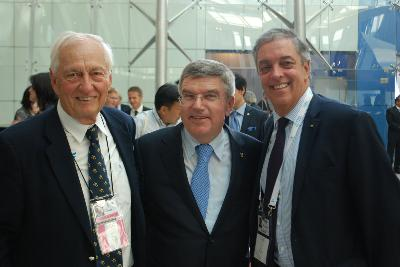 Andres Botero, IWWF Emeritus President and IWWF President Kuno Ritschard with the new IOC President Thomas Bach from Germany.