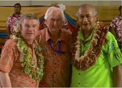 Mr Thomas Bach, President of the IOC,  IWWF President Kuno Ritschard and His Excellency the President Ratu Epeli Nailatikau of Fiji Island