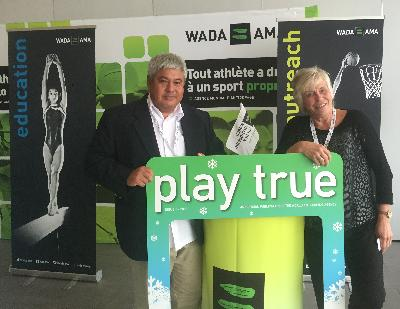 IWWF Executive Director, Paul Fong, and IWWF Secretary General, Gill Hill, at the 2016 WADA Anti Doping Association (ADO) Symposium in Lausanne