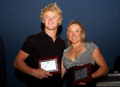 Awards made in Mandurah to Tournament Skiers of the Year 2011 to Timothy Bradstreet AUS and Natalia Berdnikova BLR