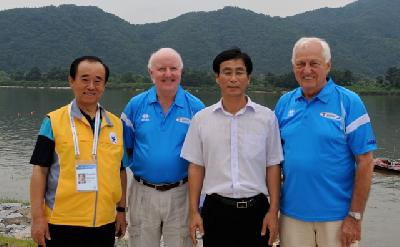 Mr Een-Nam Son, CEO 1st World Leisure Games & Congress, Des Burke-Kennedy, IWWF Media & Marketing Chairman, Mr Gwang Jun Lee, Mayor of the City of Chuncheon, Kuno Ritschard, IWWF President.